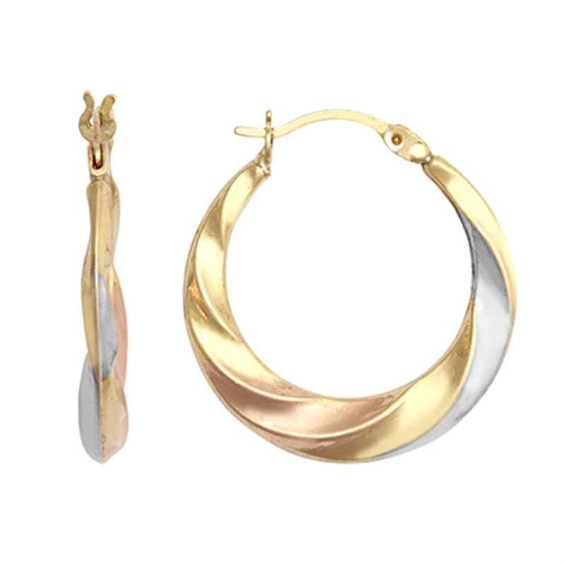 9ct Gold Three Colour Fancy Creole Earrings 15mm