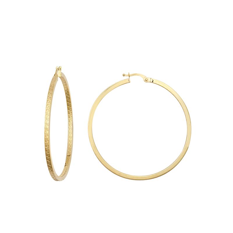 9ct YG 40mm Double Greek Key Hoop Earrings