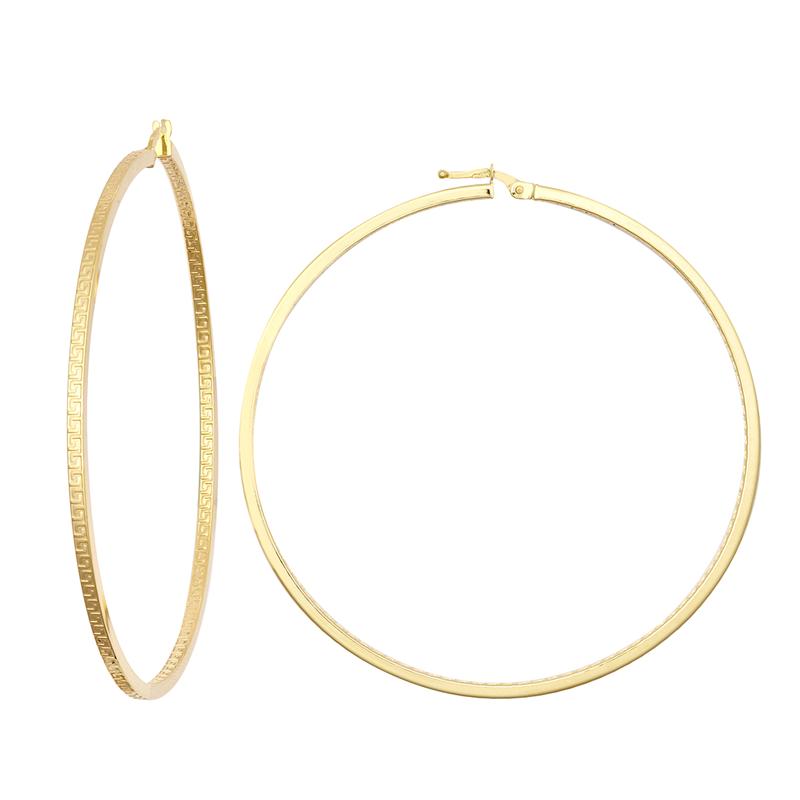 9ct YG 60mm Double Greek Key Hoop Earrings