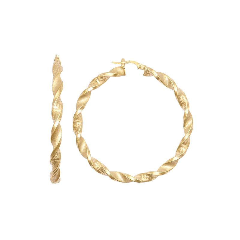 9ct YG 40mm Altered Greek Key Twist Hoop Earrings