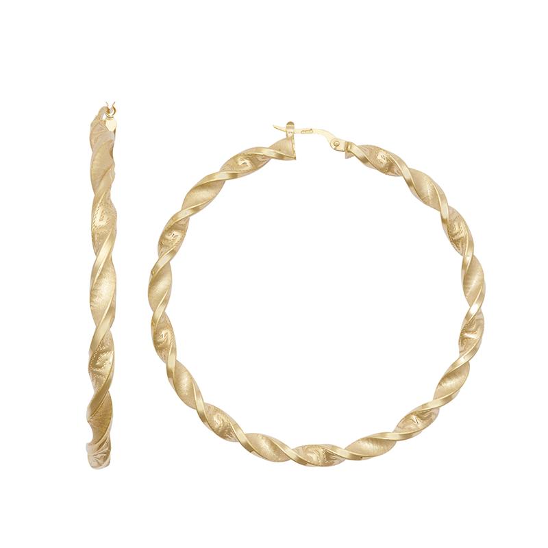 9ct YG 50mm Altered Greek Key Twist Hoop Earrings