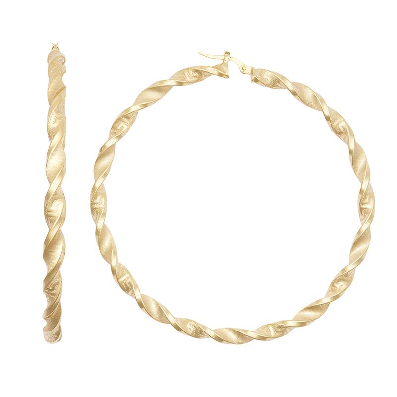 9ct YG 60mm Altered Greek Key Twist Hoop Earrings
