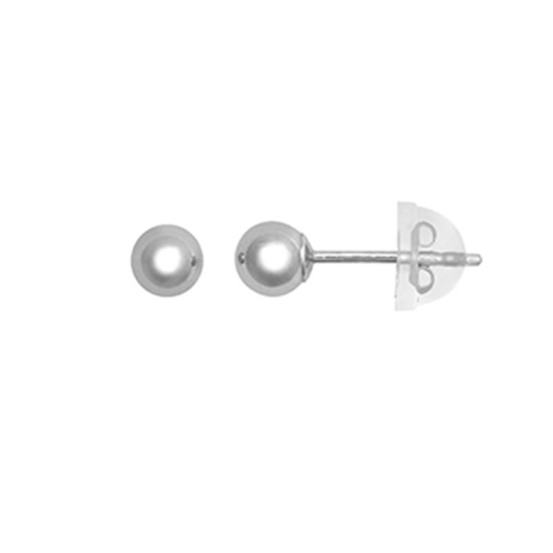 9ct White Gold 4mm Plain Ball Stud Earrings