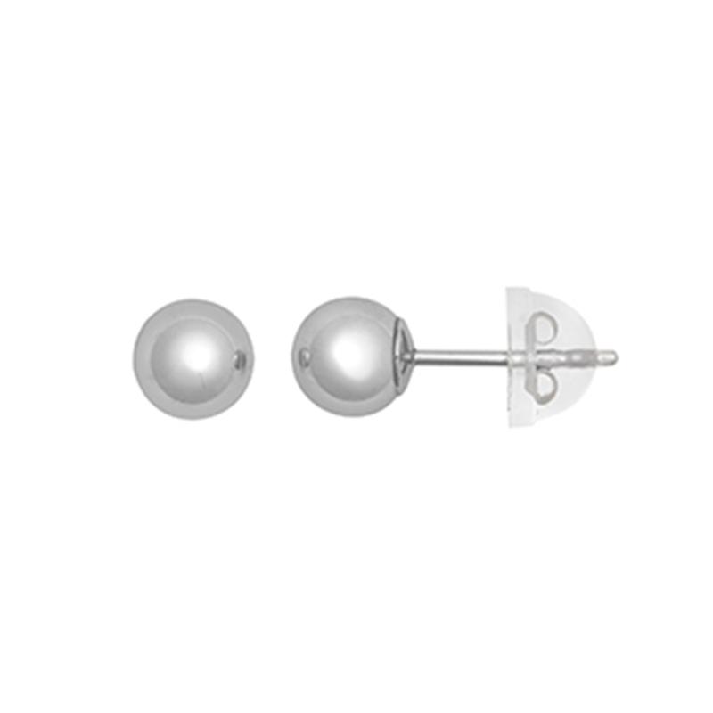 9ct White Gold 5mm Plain Ball Stud Earrings