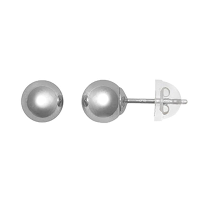 9ct White Gold 6mm Plain Ball Stud Earrings