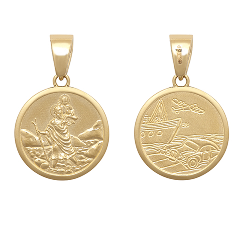 9ct YG 16mm Double Sided St. Christopher Medallion Pendant