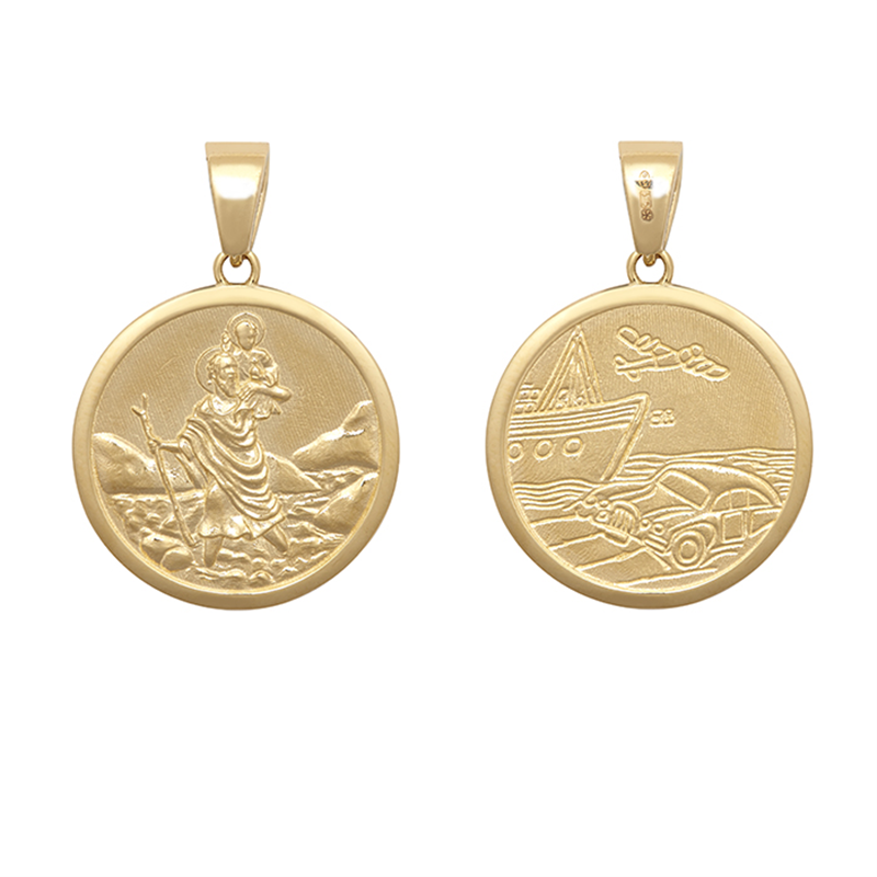 9ct YG 22mm Double Sided St. Christopher Medallion Pendant
