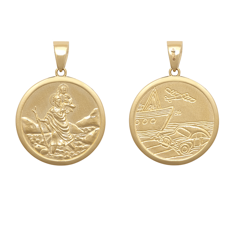 9ct YG 25mm Double Sided St. Christopher Medallion Pendant