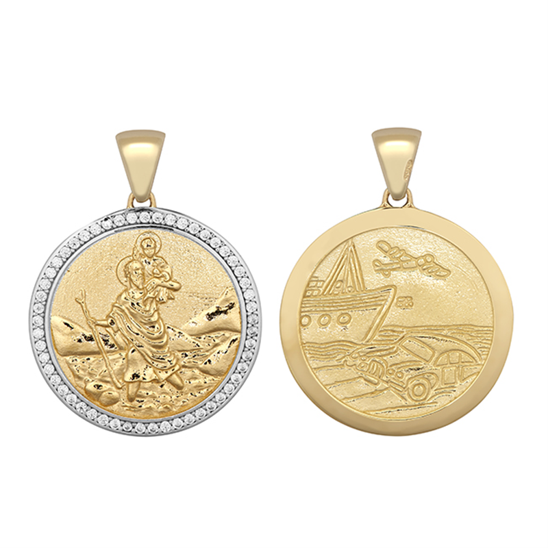 9ct YG 23mm Cz Double Sided St. Christopher Medallion Pendant