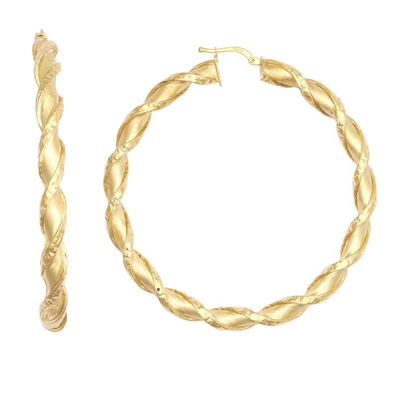 9ct YG 50mm Shiny Twist Hoop Earrings
