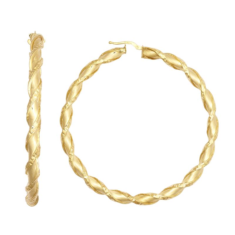 9ct YG 60mm Shiny Twist Hoop Earrings