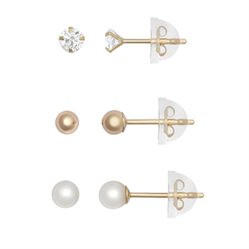 9ct YG 3mm Ball , Pearl and Cz Stud Earring Set