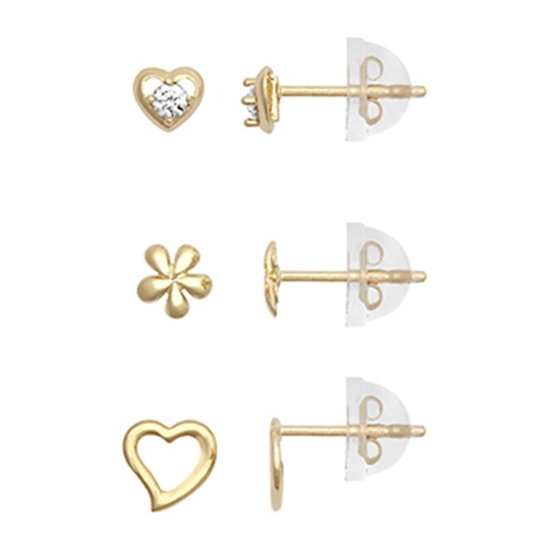 9ct YG Cz Heart, Open Heart & Flower Earring Set