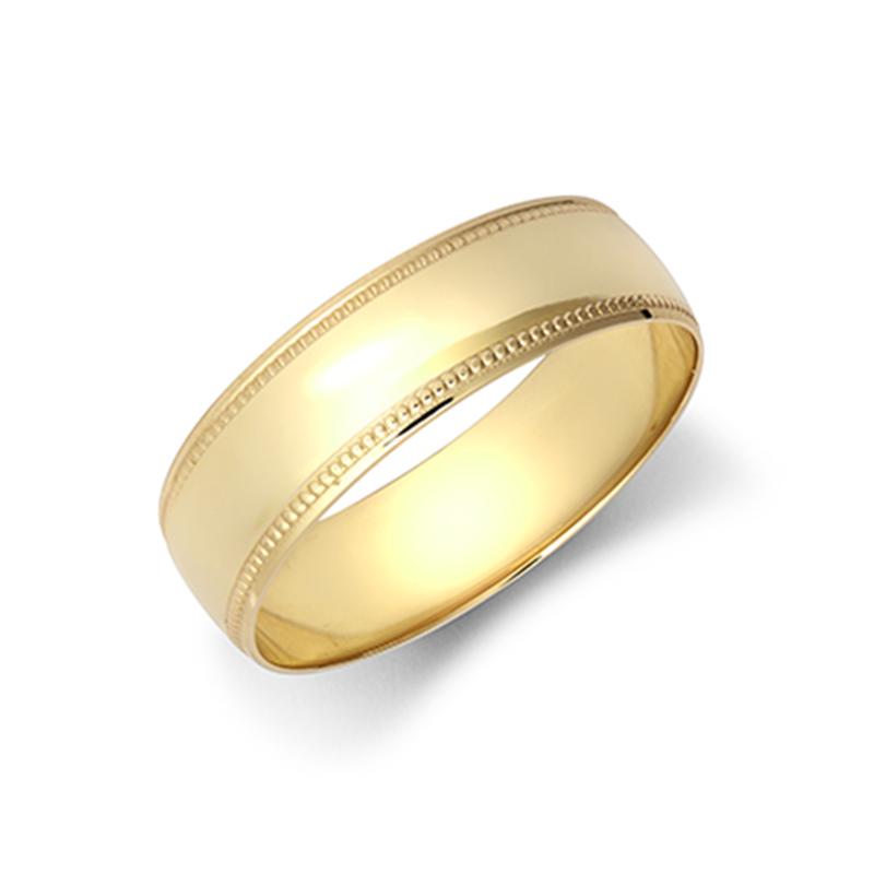 6mm Milgrain Wedding Ring