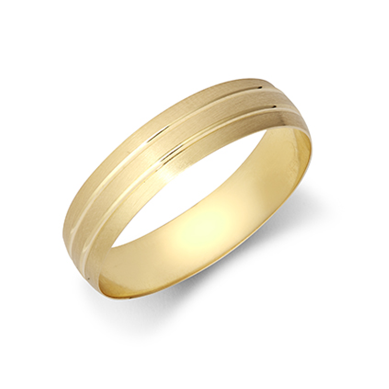5mm Satin Finish Grooved Wedding Ring