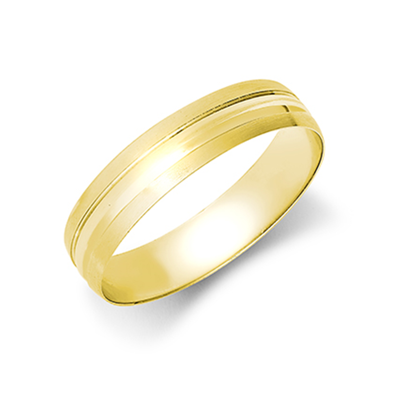 5mm Satin Finish Grooved Wedding Band Ring