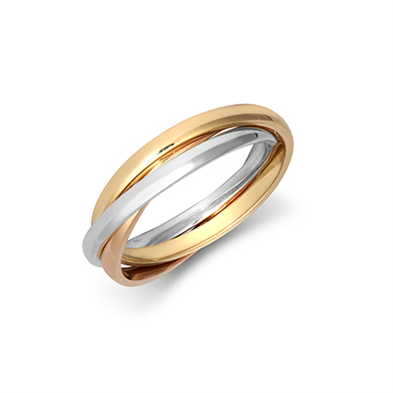 9ct Three-Colour 2mm Russian Wedding Band Ring