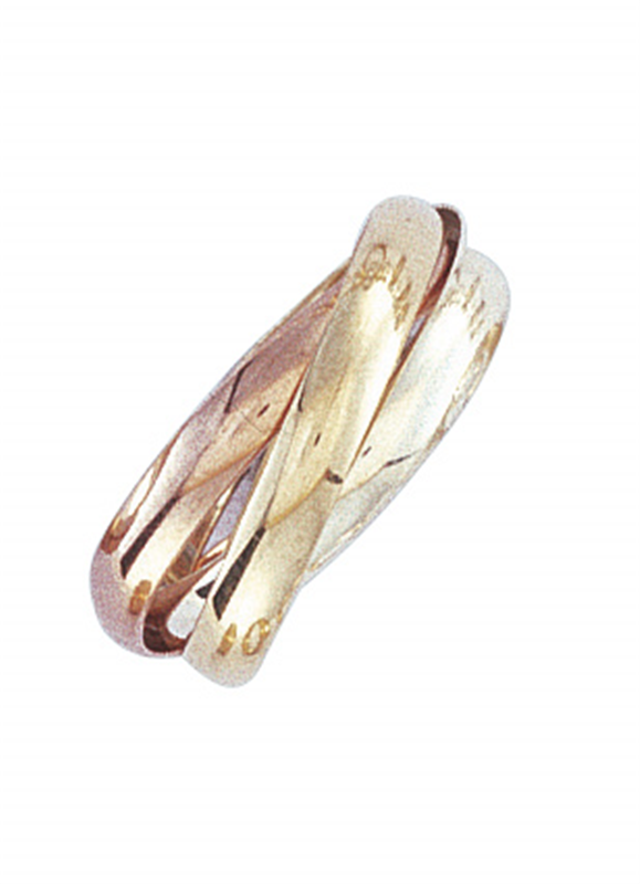 9ct Three-Colour 3mm Russian Wedding Band Ring