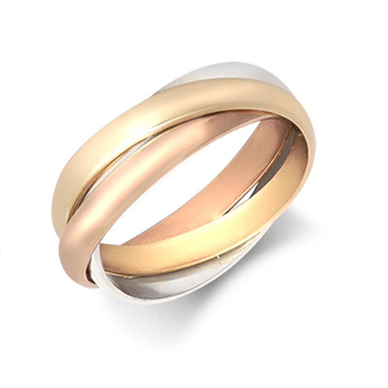 9ct Three-Colour 3mm Russian Wedding Ring