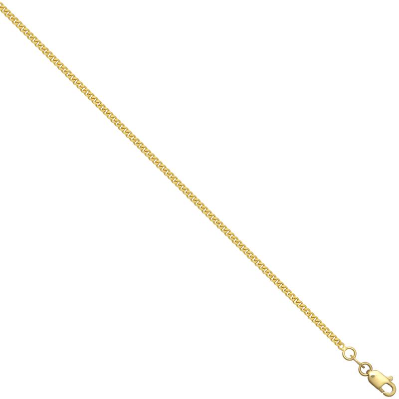 18ct YG Diamond Cut Curb Chain