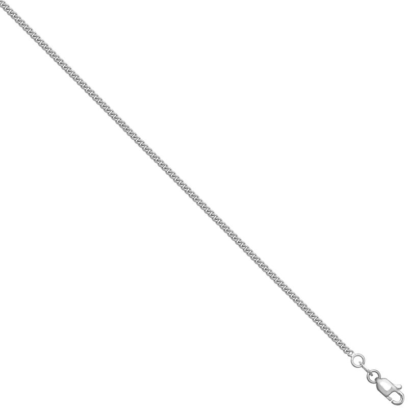 18ct WG Diamond Cut Curb Chain