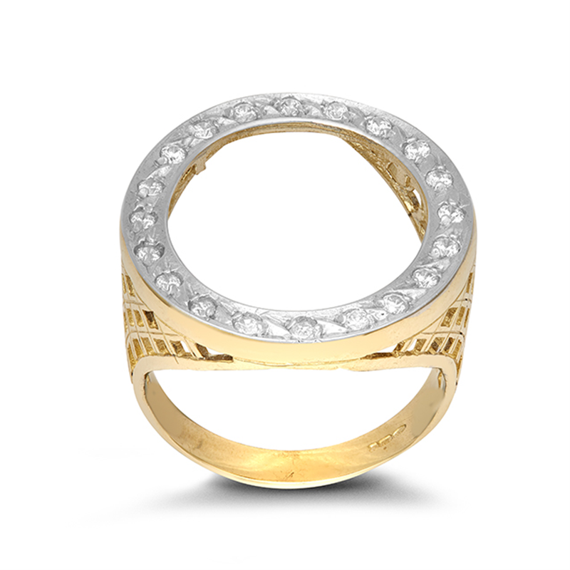 9ct YG Cz Half Sovereign Ring