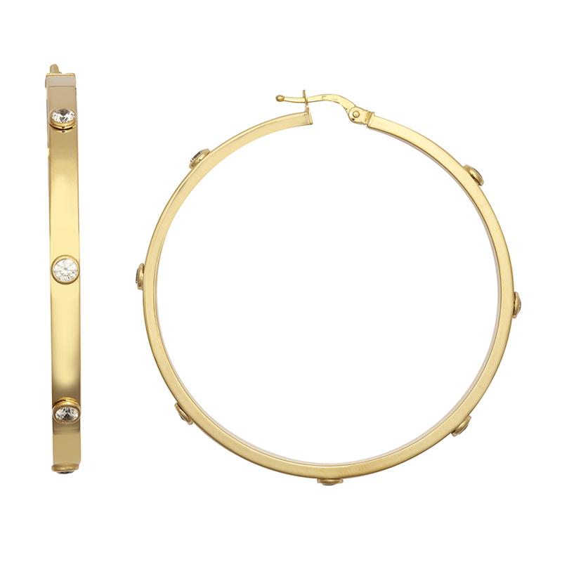 9ct YG 50mm Cz Hoop Earrings