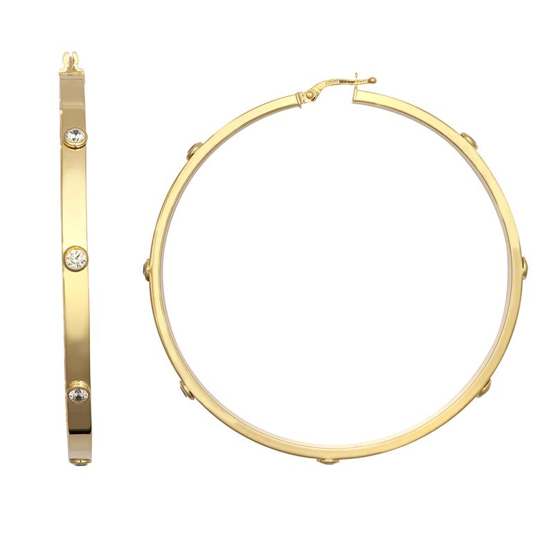9ct YG 60mm Cz Hoop Earrings