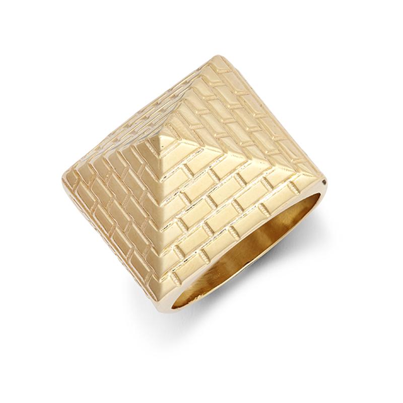 9ct YG Plain Pyramid Ring