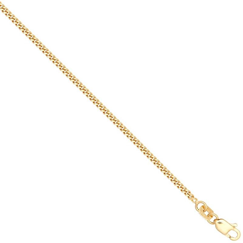 9ct YG Diamond Cut Curb Anklet