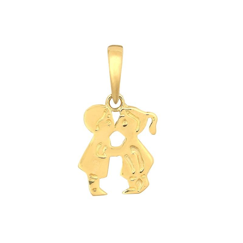 9ct Yellow Gold Boy & Girl Kissing Pendant