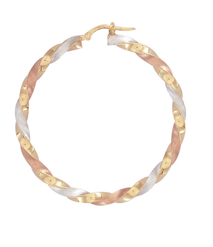 9ct Three Colour Gold Satin Twist Hoop Earrings