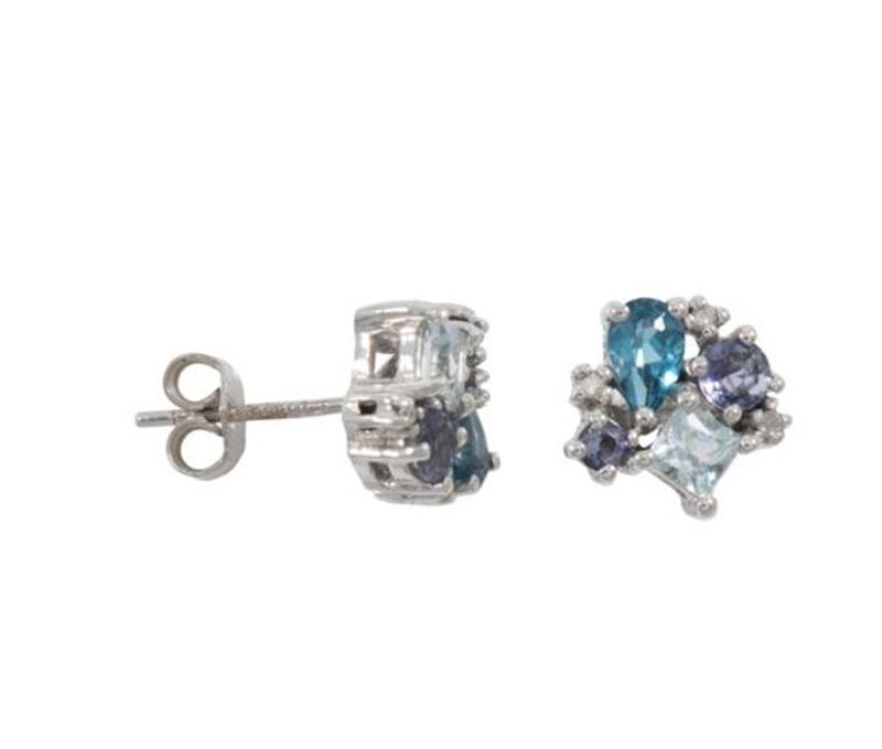 9ct WG Diamond, Blue Topaz & Iolite Stud Earrings