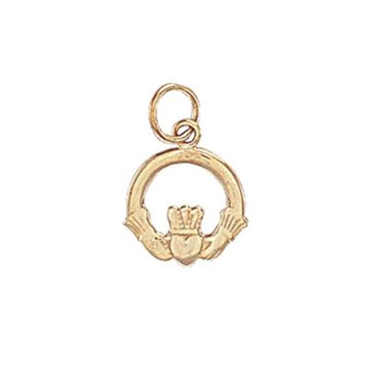 9ct Yellow Gold Claddagh Heart Charm Pendant