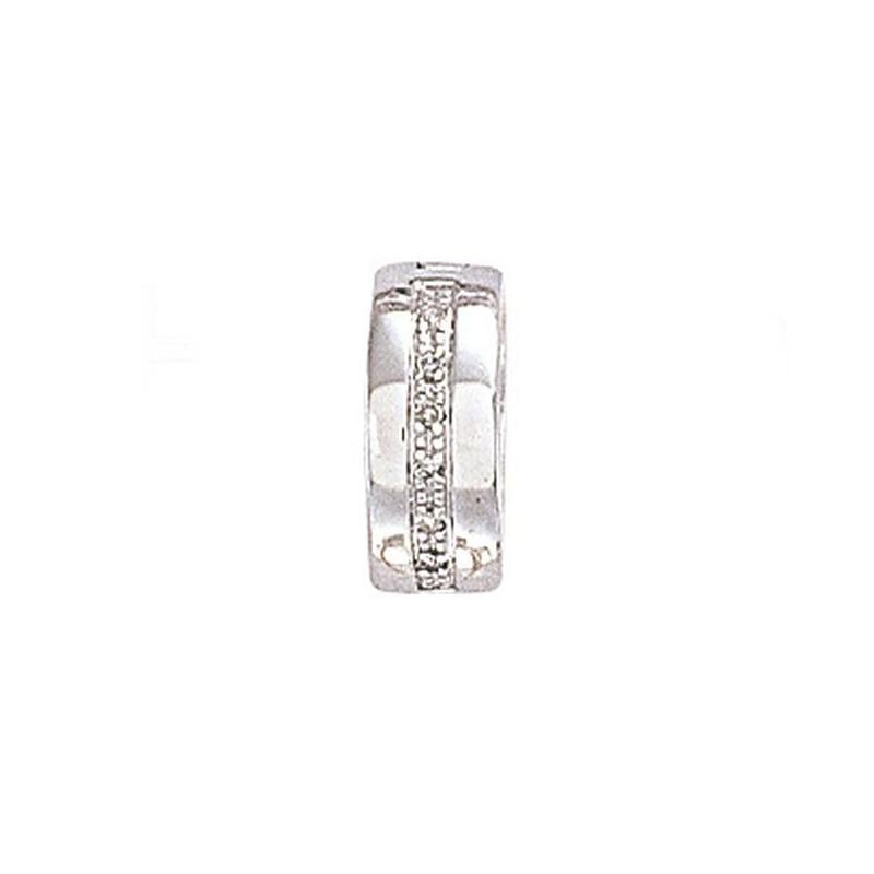 9ct WG Diamond Huggie Hoop Earring - Single