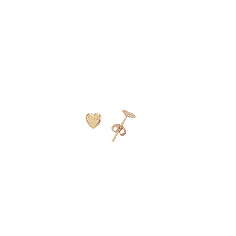 9ct Gold Stud Kids Plain Heart Earrings