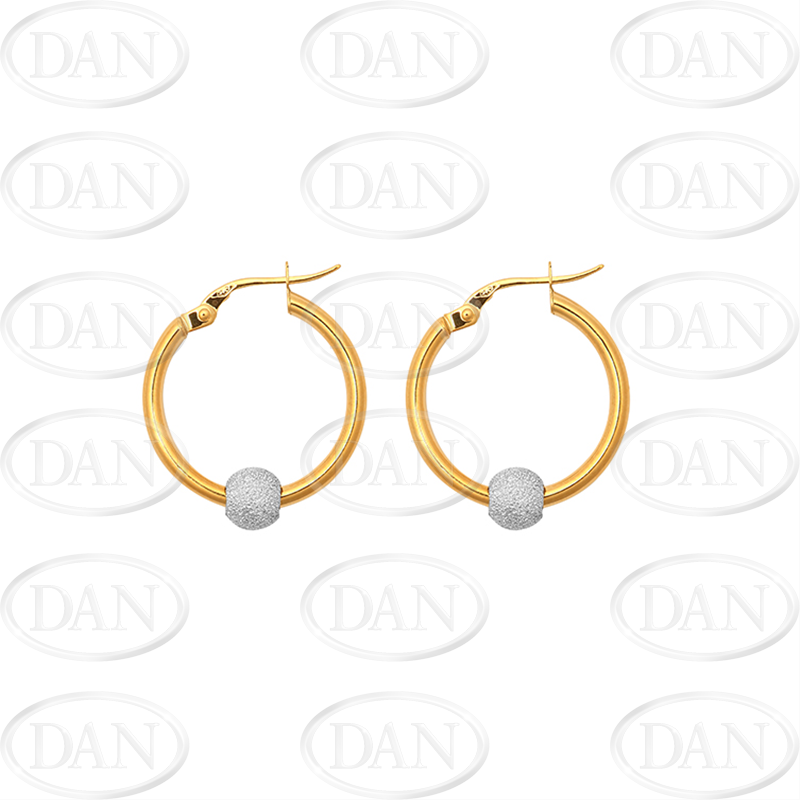 71a50e7b8 CZ Sets & CZ Balls: 9ct Yellow Gold Plain Hoop Earrings with White Ball