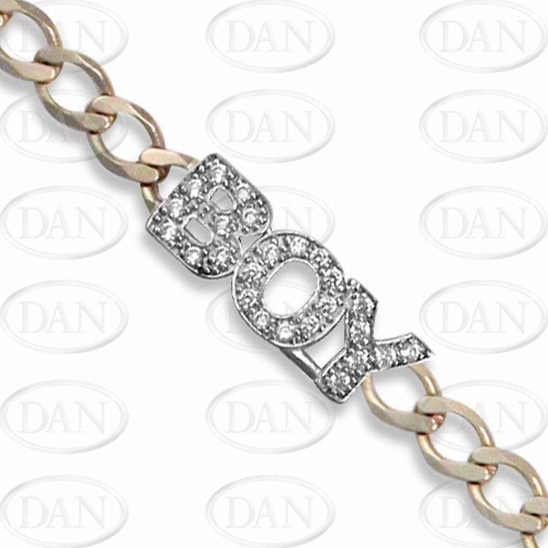 9ct Yellow Gold Kids CZ 'Boy' Curb Bracelet