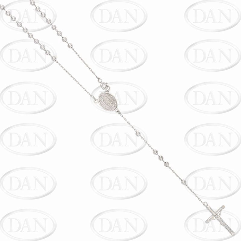 9ct White Gold Kids Rosary Bead Chain with Madonna