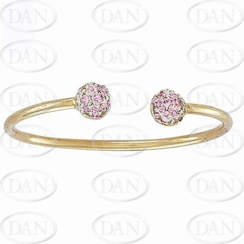 Pink Cz Kids Torque Bangle