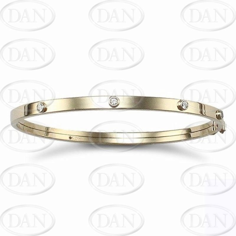 Cz Flexi Baby Bangle 9ct Yellow