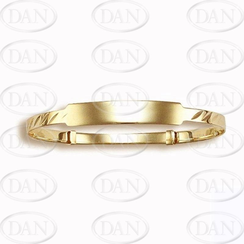 Kids ID Diamond Cut Exp. Bangle 9ct Yellow