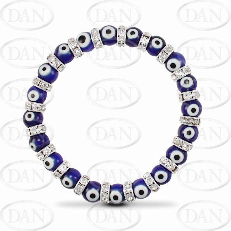 8mm Blue Evil Eye Bracelet