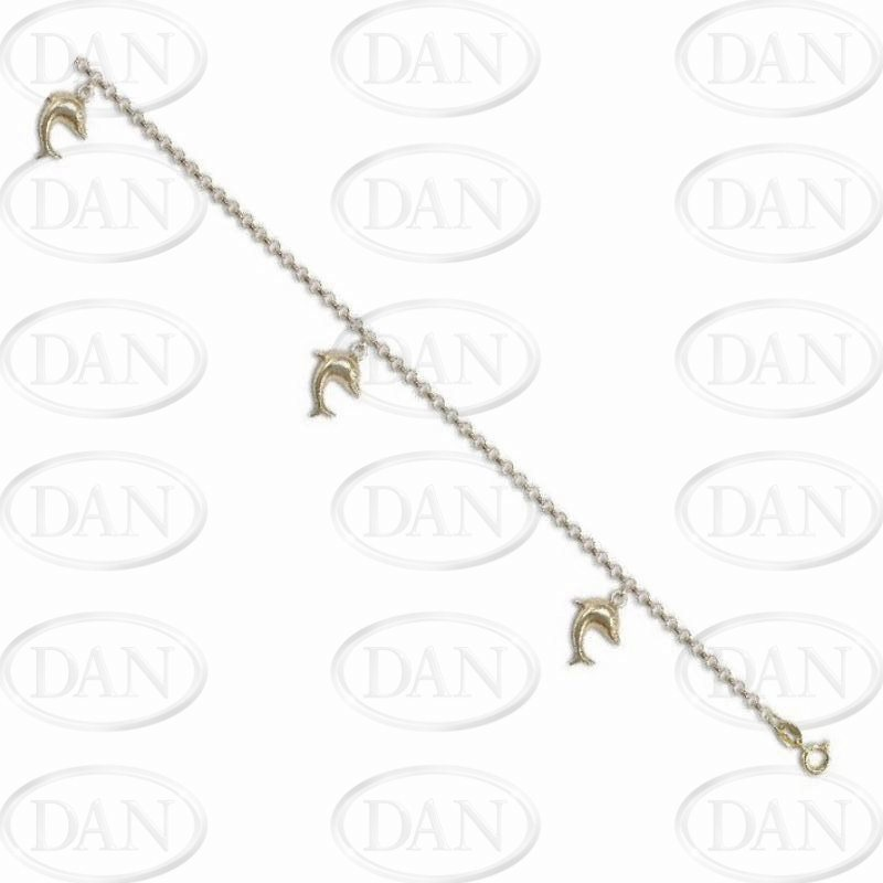Triple Dolphin Charm Bracelet 9ct Yellow