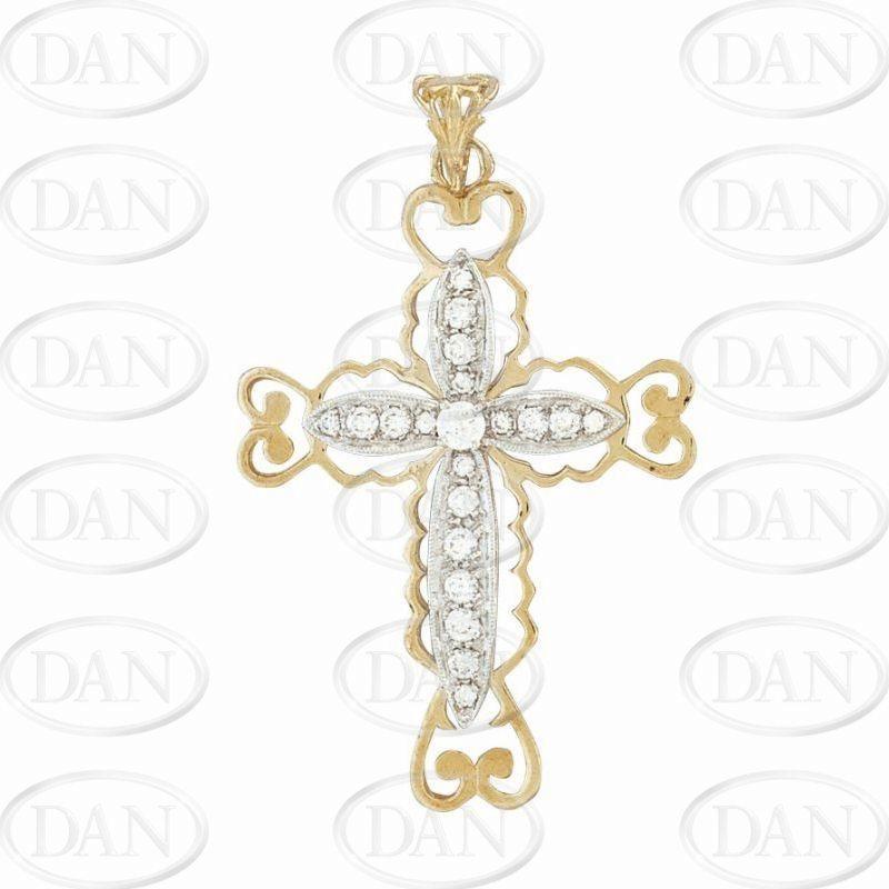 9ct Yellow Gold CZ Filigree Cross Pendant