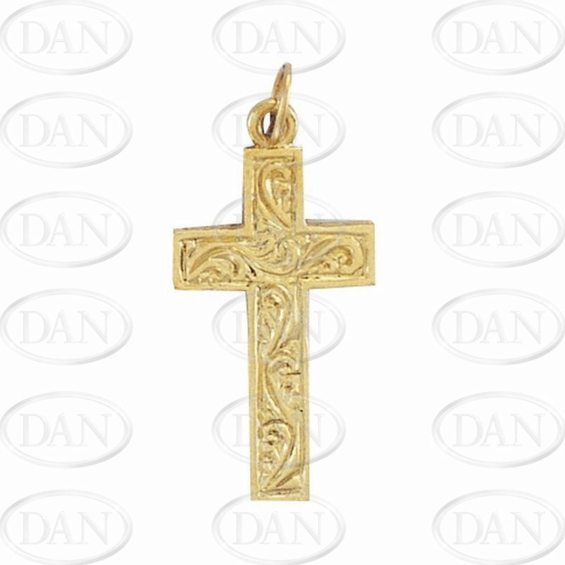 9ct Yellow Gold Engraved Cross Pendant