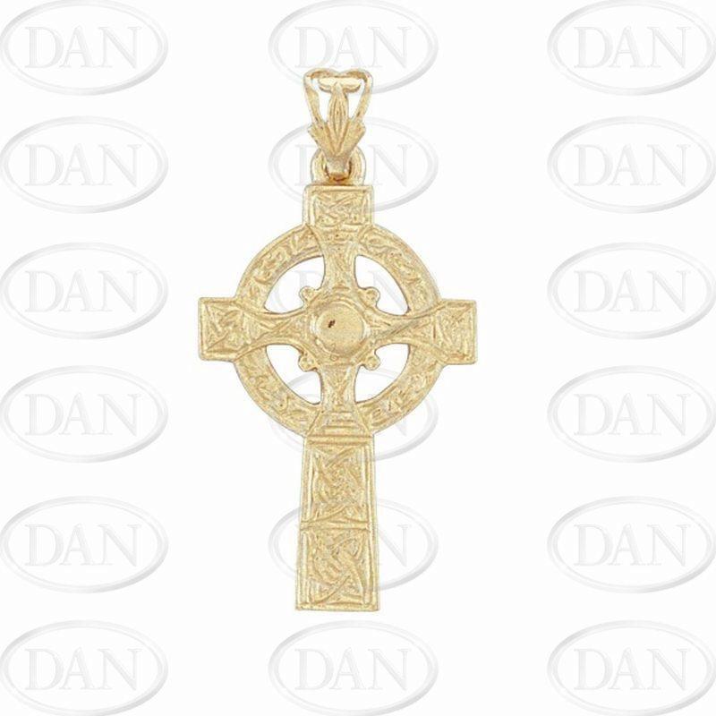 9ct Yellow Gold Engraved Celtic Cross Pendant