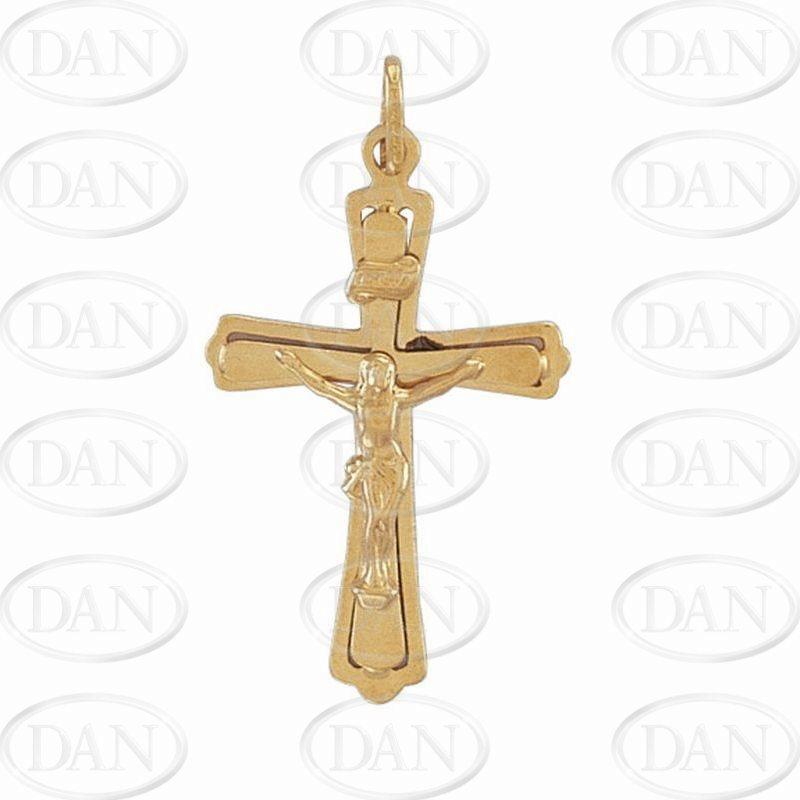 9ct Yellow Gold Plain Hollow Crucifix Cross Pendant