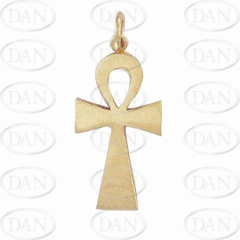 9ct Yellow Gold Plain Polished Ank Cross Pendant