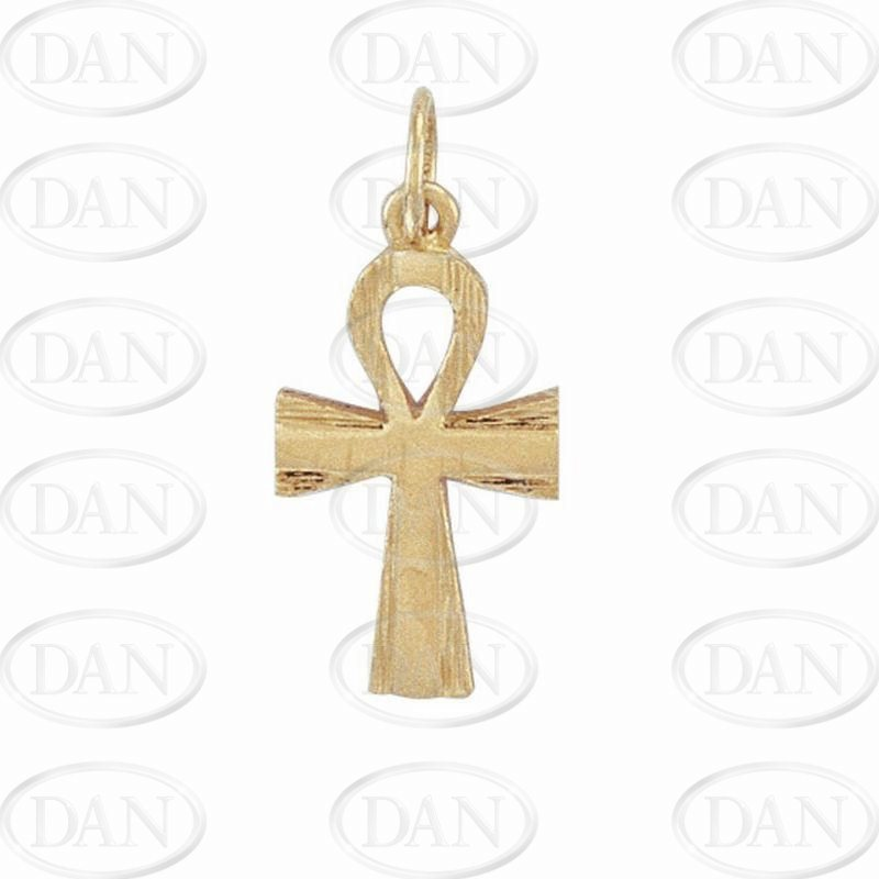 9ct Yellow Gold Plain & Barked Ank Cross Pendant
